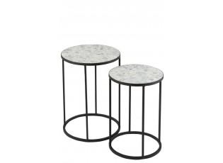 2ks kovový černý stolek s mozaikou Shard Blue - ∅ 35,5*49 cm