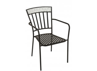 Kovová černá židle s mozaikou Shard BLUE - 55*58*85 cm