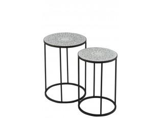 2ks kovový černý stolek s mozaikou Shard white - ∅ 35,5*49 cm