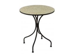 Kovový černý kulatý stůl s mozaikou Shard Yellow - ∅ 61*71 cm