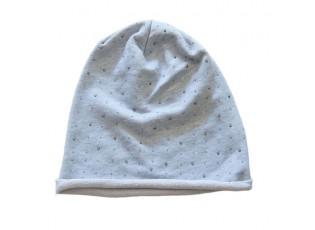 Šedá bavlněná čepice s kamínky - 26*27 cm