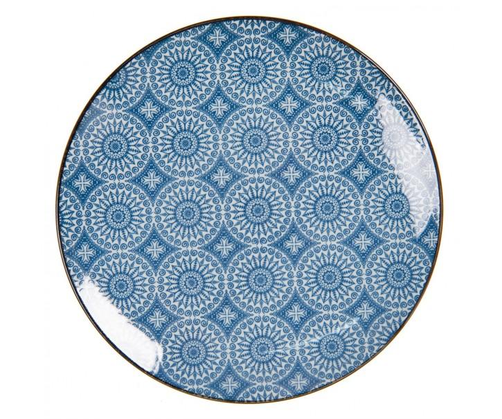 Dezertní talíř s modrým květinovým ornamentem BlueSnow - Ø 21 cm
