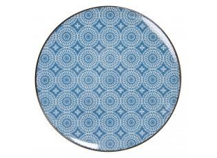 Jídelní talíř s modrým květinovým ornamentem BlueSnow - Ø  26 cm