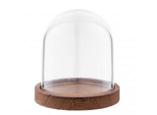 Skleněný poklop s dřevěným podnosem - Ø 10*15 cm