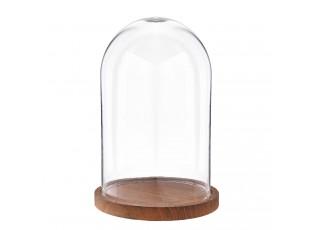 Skleněný poklop s dřevěným podnosem - Ø 17*25 cm