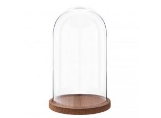 Skleněný poklop s dřevěným podnosem - Ø 16*28 cm