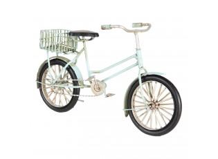 Kovový retro model modrého kola s košíkem - 23*7*13 cm