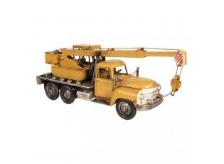 Retro kovový model žlutý jeřáb - 41*12*16 cm