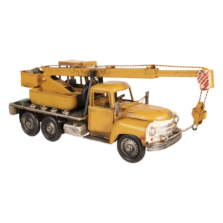 Clayre & Eef Retro kovový model žlutý jeřáb - 41*12*16 cm