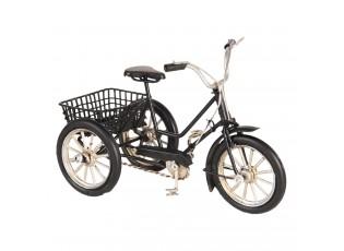 Retro model černá tříkolka s košíkem - 16*7*10 cm