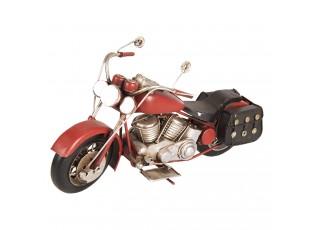 Retro model červená motorka s brašnami - 28*10*14 cm