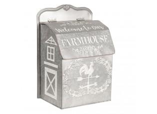Šedá plechová poštovní schránka Farmhouse - 26*16*37 cm