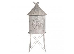 Plechový úložný box ve tvaru budky s ptáčkem - Ø 19*45 cm