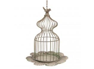 Závěsná šedá dekorační klec s ptáčkem - Ø 34*41 cm