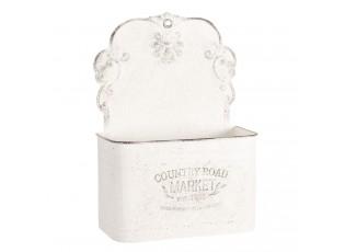 Bílý vintage nástěnný box na květiny - 24*10*33 cm