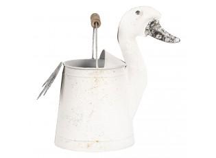 Bílá plechová dekorační konev kachna Duck- 31*16*27 cm
