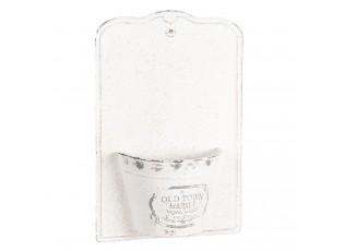 Nástěnný bílý plechový květináč - 26*10*39 cm