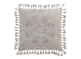 Sametový šedý polštář Moroccan s třásněmi - 45*45 cm