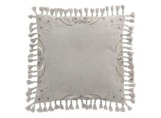 Sametový šedý polštář Moroccan II s třásněmi - 45*45 cm