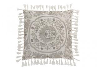 Sametový bílý polštář Moroccan s třásněmi - 45*45 cm