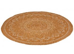 Jutový koberec oranžová Mandala - Ø 120 cm