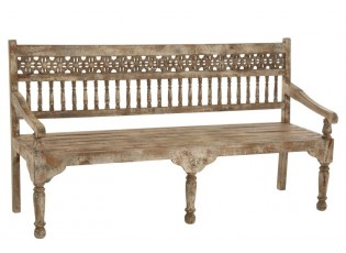 Dřevěná vyřezávaná lavice s patinou Morocco - 176*54*97cm
