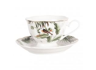Porcelánový šálek s podšálkem Tropical birds - Ø 15*7 cm / 0,22L