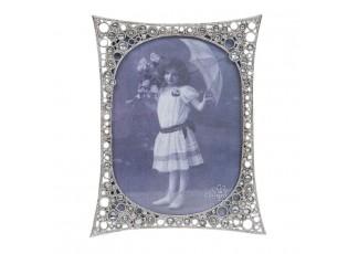Stříbrný kovový fotorámeček s kamínky - 16*21/ 13*18cm