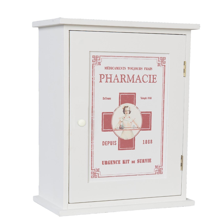 Levně Clayre & Eef Bílá dřevěná lékárnička - 24*30*13