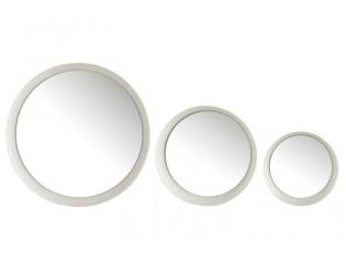 Set 3 bílých kovových zrcadel Matte - 41*41*6 cm