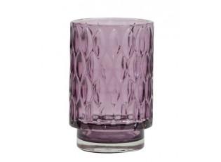 Růžový skleněný svícen Grace - Ø 9*13 cm