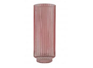 Růžový skleněný svícen Philon - Ø 6*16 cm