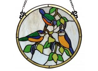 Tiffany panel Les oiseaux – Ø 30 cm