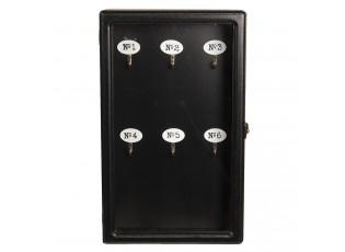 Černá dřevěná skříňka na klíče- 24*7*38 cm