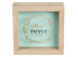 Dřevěná pokladnička Mum's Pamper - 14*5*14 cm