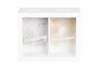 Dřevěná pokladnička Wedding & Honeymoon - 20*7*16 cm