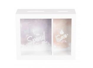 Dřevěná pokladnička Spend & Save - 20*7*16 cm