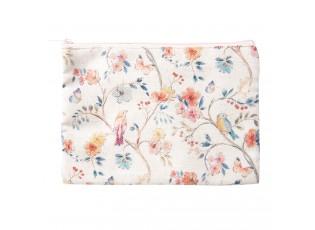 Béžová květovaná toaletní taška s ptáčky - 25*18 cm