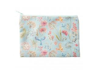 Světle modrá toaletní taška s ptáčky - 25*18 cm