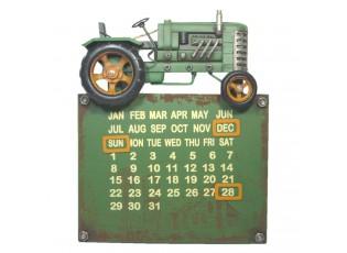 Nástěnný kovový zelený kalendář s traktorem - 34*28*6 cm