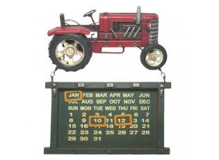 Nástěnný kovový kalendář s traktorem - 30*28*6 cm