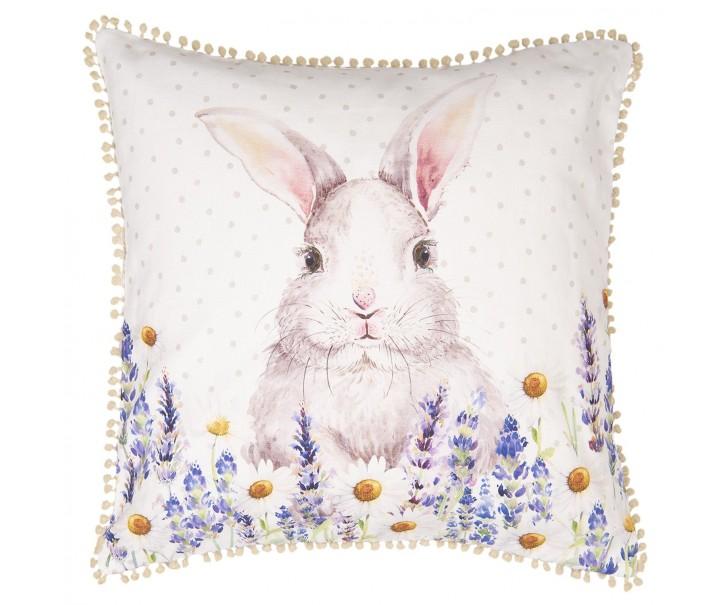 Povlak na polštář Lavander Fields s králíčkem - 40*40 cm