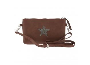 Hnědá kabelka s hvězdou - 21.5*12 cm