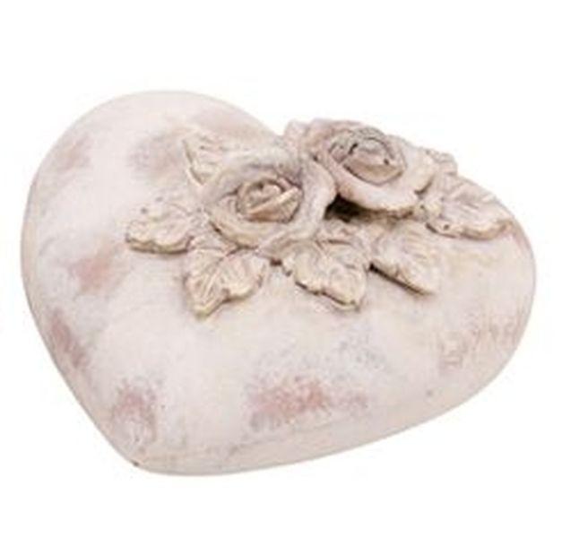 Dekorace srdce s patinou a růžemi Valo - 10*6cm
