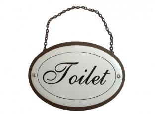 Plechová cedule Toilet na zavěšení - 16*11,5*19 cm