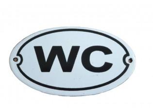 Bílá kovová cedule WC - 13,5*7,5 cm