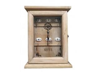 Dřevěná nástěnná skříňka na klíče -  24,5*7,5*32 cm