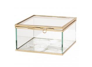 Skleněná šperkovnice se zlatým kovovým lemováním - 12*12*6 cm