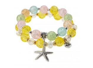 2 ks náramku s barevnými korálky a mořskou hvězdicí - Ø 6-7cm
