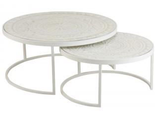 Set 2 bílých kovových stolků s ornamentovou deskou - Ø79*36 cm